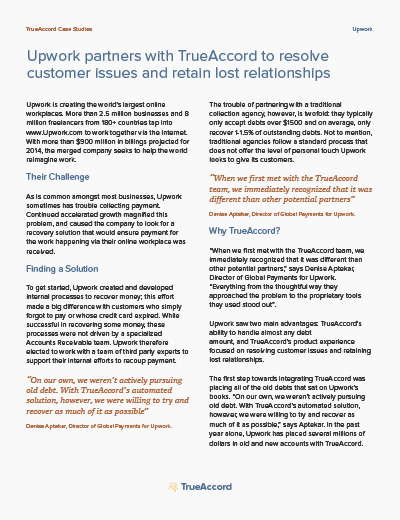 Upwork partners with TrueAccord to resolve customer issues and retain lost relationships